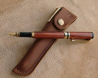 Handmade Rose Wood Wooden Fountain Pen + Personalized Fine Leather Pen Sleeve Made in USA