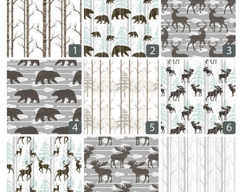 Baby Boy Quilt, Baby Woodland Nursery, Baby Moose, Deer, Bear Bedding, Boy Fitted Sheet