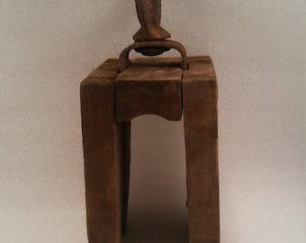 Primitive Rustic Antique Natural Wood Block Barn Pulley Hoist, Cast Iron Hook, Primitive Antique Block and Tackle Pulley
