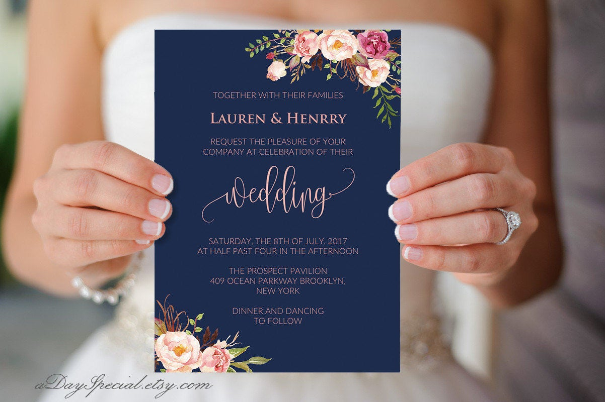 Navy wedding invitation template pink coral boho chic floral for Best paper for wedding invitations vistaprint