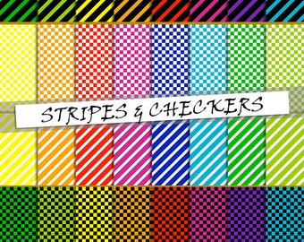 Checkered and striped digital paper pack: checkers and stripes pattern,  printable papers in rainbow colours backgrounds; for commercial use