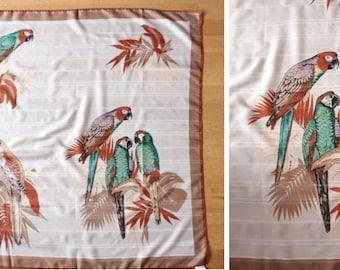 Vintage 1970's Parrot Bird Large Scarf - Birds Handkerchief