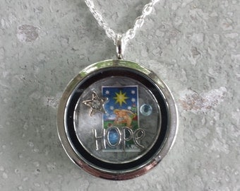 Tarot necklace/locket w/your choice of tarot card!