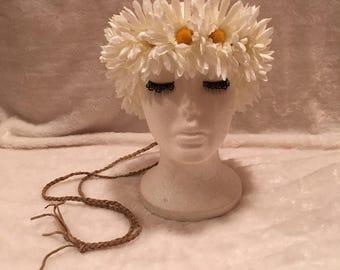 60's 70's Hippie White Daisy Chain Flower Headband Headpiece Festival Boho Costume