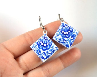 White Blue earrings geometric jewellery wedding blue jewelry eco friendly gifts idea wooden jewelry eco jewelry hand paint earings|for|girls