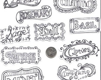 Color Your Own Herb Labels Stickers