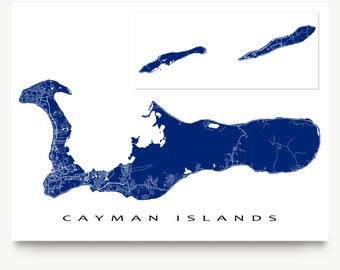 Cayman Islands Map Print, Grand Cayman Little Cayman Cayman Brac, Caribbean Island Map Poster