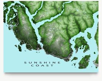Sunshine Coast, BC Map, British Columbia Canada, Sechelt, Gibsons, Art Print
