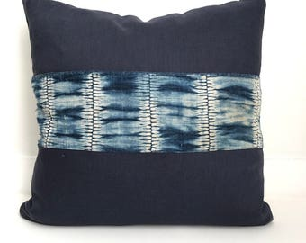 Linen and Shibori Pillow Cover, Ethnic, Handwoven, Indigo, Navy Blue, Boho Pillow