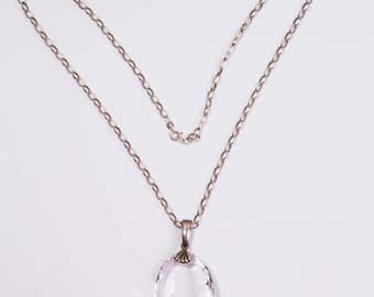 Antique Victorian Sterling Silver & Natural Rock Crystal Pendant Necklace