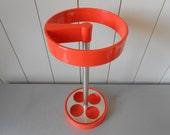 Vintage 1970s orange umbrella stand holder rack. Space Age Design. Kartell Joe Colombo Panton era Plastic Chrome Mod Decor Hallway Entrance