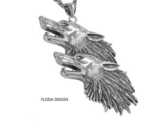 Large Howling Two Wolf Pendant Necklace in Sterling Silver, Wolf Jewelry, Animal Jewelry FD-34-2(2)
