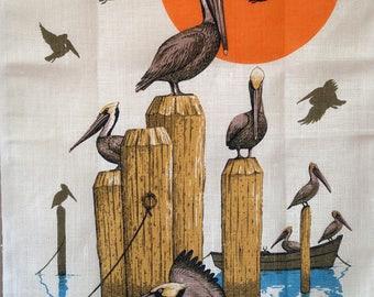 Birds of Sea Linen Tea Towel Never Used Kay Dee Rhode Island Beach House Lake Cabin Decor