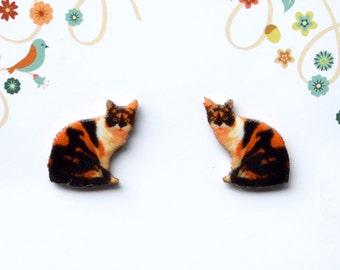 Calico Cat Fine Detail Stud Earrings