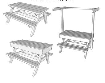Kids Picnic Table With Sand Box U0026 Canopy Option   Wood Plans   PDF File