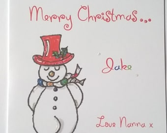 Personalised Handmade  Snowman Christmas  Card. Mum, Dad, Nanna, Nan, Grandad, etc
