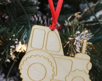 Personalised Christmas Tree Decoration Engraved Wooden TRACTOR & Gift Bag