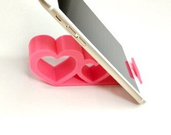 Smartphone Stand   Hearts Valentines Desktop Smartphone Stand   Cell Phone Holder   3D Printed