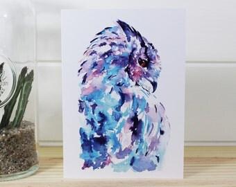 A6/C6 Watercolour Owl Fine Art Greeting Card