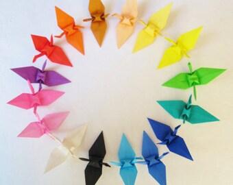 50pcs Large Size 5 1/2 inches Multicoloured Origami Cranes Japanese Paper Cranes