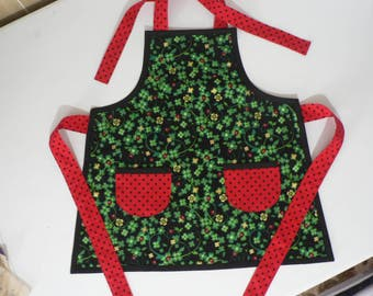 Childrens Apron with Pockets St Patricks Day Apron with Lady Bugs Boys Apron Girls Apron