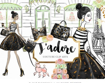 J'adore Clip Art | Fashion Illustration Glam Woman hand bag Paris Macarons Graphics | Planner Stickers, Planner Girl | Digital Cliparts
