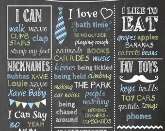 Birthday Chalkboard Poster File Ready to Print Custom Personalised Party Boy