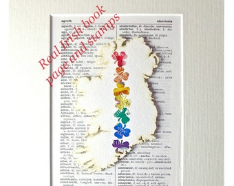 Made in Ireland, Gay Wedding Gift, LGBT Irish, Ireland Map, Real Postage Stamps, Dictionary Art, Book Lover Gift, Rainbow Colours, Shamrocks