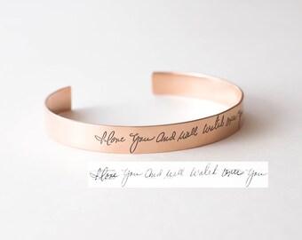 Custom Handwriting Jewelry • Your Actual Handwriting Cuff Bracelet • Handwriting Bangle • Signature Bangle • Sympathy Gift • Mom Gift • BM26