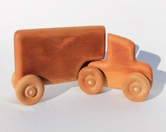 Wooden Toy Semi Truck with Trailer Great Children's Gift Can be Personalized