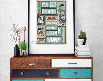 Retro Surf Board art print.Surf poster. Surf VW Bug decor. Surf wall art. Vintage VW bus surf board poster. Nautical surf print. Beach print