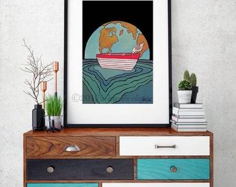 Bird, Earth and boat art print. Nautical Earth and bird poster. Nautical bird print. Coastal Print. Nautical wall art. Coastal Bird decor.