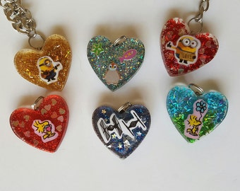 resin heart charms