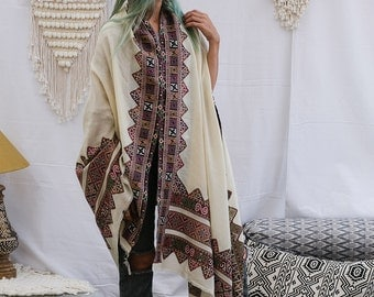 Tribal Embroidered Shawl, Indian Shawl, Pure Wool Shawl, Boho Shawl, Winter Accessories, Off White Shawl