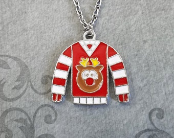 Ugly Christmas Sweater Necklace Red and White Necklace Sweater Jewelry Christmas Necklace Christmas Jewelry Christmas Gift Stocking Stuffer