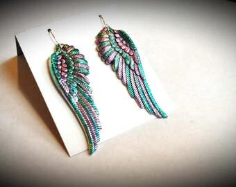 Native American South Western Colorful Feather Earrings, Religeous Angel Wing Alcohol Ink Jewelry, Designer Beach Pastel Artisan Accessories