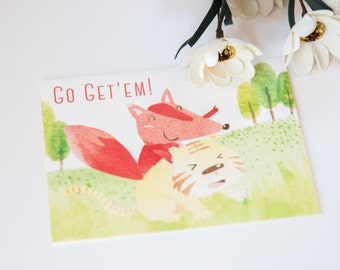 Set of 4 - Go get'em! - Animal Lover - Fox & Tiger