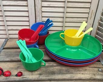 Vintage Gothamware Plastic Dishes~Plastic Picnic Set, Vintage Kitchen, Primary Plastic Dishes, Camping Dishes, 1950's Kitchen, Retro Kitchen
