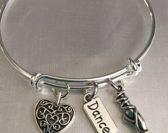 Ballerina ballet bracelet with dance heart and ballerina slipper charms