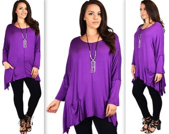 Stylish & Comfortable Front Pockets Tunic, Full Figure Wear,Plus Size Tunic,  Lagen Look Tunic Top, Artsy Tunic.