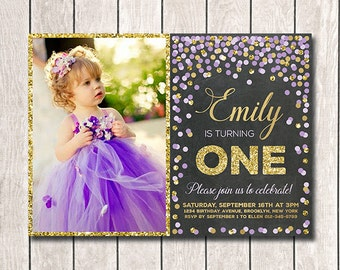 Girl Birthday Invitation 1st Birthday Invitation Purple And Gold Confetti Invites First Birthday Invitation Printable Girl Photo Invites