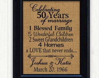 50th Anniversary Gift, Anniversary Gift, Gift for Anniversary, 50th Anniversary, Gift for Couples, Gift for Parents, 50 Years of Marriage