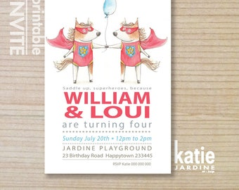 TWIN HORSE  party invitation - kids invitation  - printable invitation - kids party - pony - balloon - portrait - 5x7 - superheros x 2