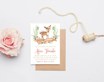 Deer Baby Shower Invitation Girl, Woodland, Boho Flower Printable Invite (576)