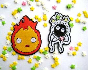 Set of two Studio Ghibli Iron on Patches - Howl's Moving Castle Calcifer and Soot Sprite Patches