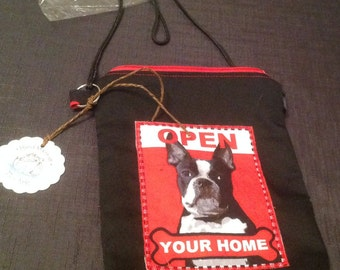 Cross body Pouch Tote Bag Rescue Adopt dog animal Lined Boston terrier