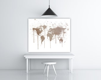 Wall Map World Travel Decor, Travel Watercolor World Map Illustration Print, Watercolor Earth Print, Brown Art Water Color Splash