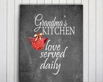 Grandma Quote, Family Poster Kitchen Chalkboard Art, Nana Gift, Black And Red Typography Print, Grandmother Birthday Grandparent Gift Teapot