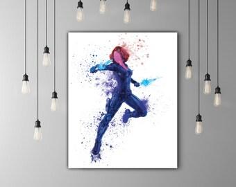 Black Widow Marvel Room Decor, The Avengers Art Printable Decor, Superhero Girl Dark Blue Watercolor Artwork Movie Wall Art Natasha Romanoff