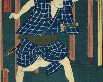 Japanese original Ukiyo-e Woodblock print, Utagawa Kunisada, Kabuki actor Ichikawa Kodanji, Edo-period